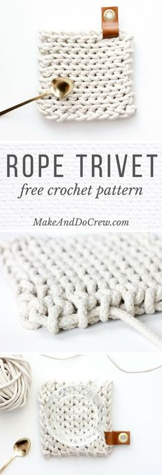 This free crochet trivet pattern uses rope clothesline to create a super modern, West-Elm-worthy DIY hostess gift. Add a leather accent and it's perfection! kostenlos modern Clothesline Trivet - Free Modern Crochet Pattern Using Rope Crochet Kitchen, Crochet Home, Love Crochet, Crochet Gifts, Knit Crochet, Crochet Trivet Patterns, Modern Crochet Patterns, Crochet Dishcloths, Crochet Coaster