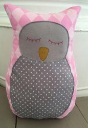 Pöllö pehmo pinkki/harmaa | Piccu - Lasten lakanat - Vauvan lakanat - Makuuhuoneen tekstiilit - Kodintekstiilit - Keittiötekstiilit - Kankaat - Luomupuuvilla - Bambu