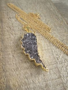 c8ce14ab3903 Necklace showcases an amazing jasper quartz druzy angel wing pendant along  a 14K gold fill cable