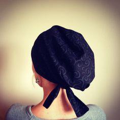 Subtle Dark Swirls on a Black Scrub Hat