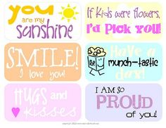 Lunch box printables :)  #bento #lunchbox #cute #printable #notes #love #care #lunch #box #fun #lol