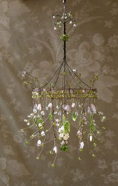 This geeky house enchanted forest inspired home and garden branch a dainty pink sunshower chandelier bellstudios etsy mozeypictures Gallery