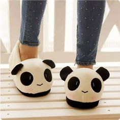 Adorable Stuffed Animal Panda Boat Shoes Slippers from Merlow Avenue. Saved to Epic Wishlist.