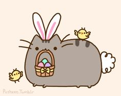 Pusheen the cat as the easter bunny. Hanging with little chicks. :) Aww! <3