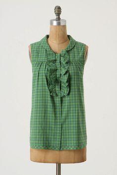 Anthropologie Summer Tartan Tank Top Blouse Shirt Size S, Lili's Closet Sewing Clothes, Diy Clothes, Shirt Refashion, Cool Shirts, Men's Shirts, Button Shirts, Couture, Dressmaking, Diy Fashion