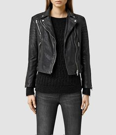 Womens Papin Leather Biker Jacket (Black) - product_image_alt_text_1