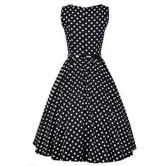 Black White Polka Dot Hepburn Dress