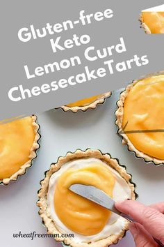Keto and gluten-free no bake lemon curd cheesecake tarts are tangy and delicious. Melt in your mouth keto lemon cheesecake filling and topped with a citrus lemon curd. Lemon Curd Cheesecake, Cheesecake Tarts, Gluten Free Cheesecake, Gluten Free Pie, Low Carb Cheesecake, Gluten Free Baking, Lemon Desserts, Low Carb Desserts, Gluten Free Desserts