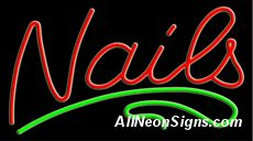 """Nails Neon Sign-10345  13"""" Wide x 32"""" Tall x 3"""" Deep  110 volt U.L. 2161 transformers  Cool, Quiet, Energy Efficient  Hardware & chain are included  6' Power cord  For indoor use only  1 Year Warranty/electrical components  1 Year Warranty/standard transformers."""