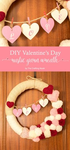 DIY Valentine's Day Rustic Yarn Wreath
