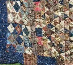 Vintage Quilt - Brown - Blue - Variety Patchwork - 1930s