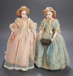 The Sisters. English Poured Wax Doll in Aqua Silk Gown. Circa 1876. http://Theriaults.com