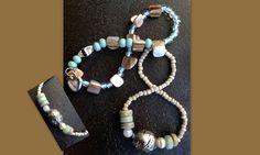 "Armbanden ""Fancy"" met echte houten, glazen en stenen kraaltjes"