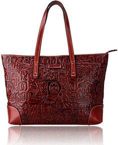 Pijushi Womens Designer Vintage Style Top-zip Tote Shoulder Handbags 8048 (One Size, 8048 Red)