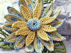 Crochet Brooch Fiber Brooch Irish Crochet Pin Daisy Yellow Blue Green. $22.50, via Etsy.