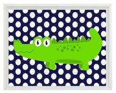 Alligator Nursery Wall Art Print - Navy Blue Lime Green Decor Polka Dots - Children Kid Baby Boy Room - Home Decor 8x10  Print. $15.00, via Etsy.