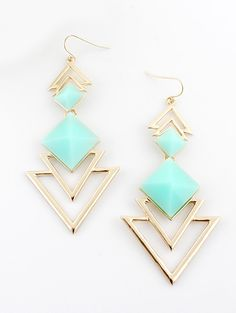 Green Gemstone Gold Hollow Dangle Earrings - Sheinside.com