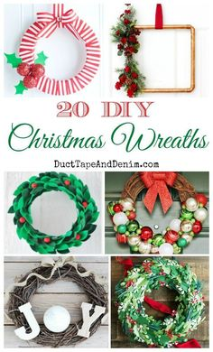 20 DIY Christmas wreaths | More holiday craft ideas on  http://DuctTapeAndDenim.com