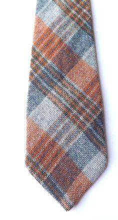 Vintage 1970s Wool Tweed Neck Tie Orange, Blue, Multi Plaid Tweed Weave FREE P&P #DJFModernTrend #NeckTie