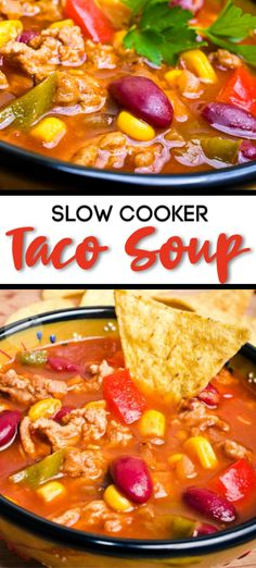 Slow Cooker Taco Soup - a simple Mexican style recipe that can be slow cooked all day! Taco Soup is a favorite. I put it in the crock pot early and we munch on it all day. If friends show up, this recipe makes a lot of slow cooker taco soup! Health Slow Cooker Recipes, Slow Cooker Hamburger Recipes, Slow Cooker Lasagna, Slow Cooker Freezer Meals, Slow Cooker Tacos, Slow Cooker Soup, Crockpot Recipes, Soup Recipes, Chowder Recipes