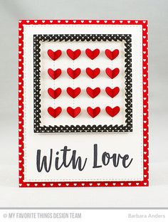 Handmade card from Barbara Anders featuring Stitched Heart Grid Die-namics #mftstamps