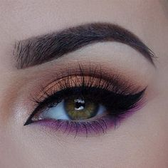 Brown bronze smokey eyes with purple shadow as an eyeliner for pop of colour Makeup Inspo, Makeup Inspiration, Makeup Tips, Hair Makeup, Prom Makeup, Lila Palette, Eye Palette, Anastasia, Beauty Make Up