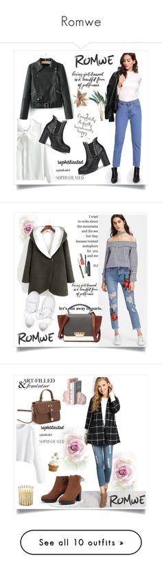 """Romwe"" by kristina779 on Polyvore featuring moda, Maybelline, WALL, Clinique, Crate and Barrel, Cricut, Bomedo, Rossetto i La Maison Du Chocolat"