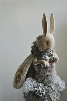 Fabric Animals, Sock Animals, Plush Animals, Cute Animals, Stuffed Animals, Ooak Dolls, Art Dolls, Mister Finch, Rabbit Art