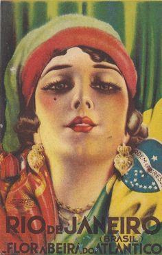 Belíssimo Cartão Postal, ilustração de Mora, série do departamento de turismo do Distrito Federal. Ao fundo, bandeiras do Brasil e Portugal.