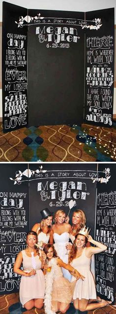 Rustic Chalkboard Wedding Photo Booth / http://www.deerpearlflowers.com/brilliant-wedding-photo-booth-ideas/