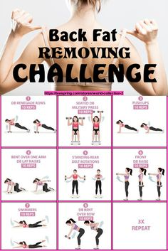 Back Workout Challenge, 30 Day Back Challenge, Back Fat Workout, Belly Fat Workout, P90x Workout, Workout Videos, Summer Body Workouts, Easy Workouts, Monthly Workouts