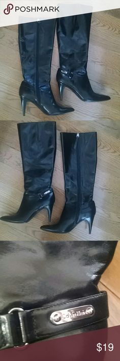 Calvin Klein Leather Boots- Black These are a pair of black Liv Kidskin leather boots by Calvin Klein.  Size 7 1/2.  Good used condition. Calvin Klein Shoes Heeled Boots