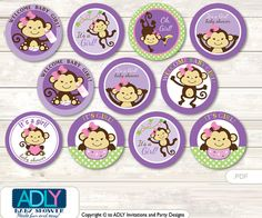 Purple Monkey Cupcake Toppers for Baby Shower Printable DIY, favor tags, circles, It's a Purple, Jungle- ao118bs0