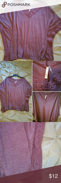 Poncho Shawl Kimono sweater style top shirt Size L-XL - Poncho style burgundy color. With laced flutter sleeves and v-neckline.  Gently worn, shows light wear. Fits kinda oversized - comfy. Bjewel Tops