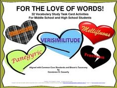 FOR THE LOVE OF WORDS! is an 11-page Task Card vocabulary study with 32 individual, pairs, small group and whole class activities. Students select the card to complete, write the Name, Number and Title of the vocabulary word list they are using on the back of the card and then list the words that they are including in the activity under that. Next, they complete the activity on notebook paper, staple the Task Card to the paper, and turn it in.  These 32 activities will engage students'…