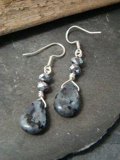 Beautiful Larvikite Drop Earrings w Crystals All by Sewartzee