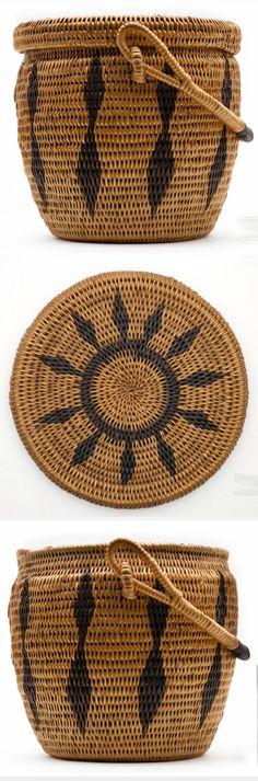 Africa | A basket with a detachable lid made of light-coloured grass with dyed decoration | Collected in Zambia, c. 1971