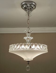 Antique 1940s Vintage American Art Deco White Pressed Glass & Chrome Ceiling Light Fixture Chandelier Rewired #artdeco