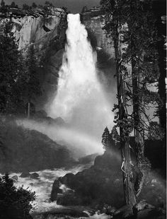Nevada-Fall-Rainbow-Yosemite-Ansel Adams (1947) - Daily Art Fixx