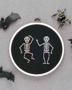 Adorable cross-stitch skeleton project