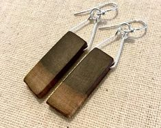 Wood earrings, walnut, dangle earrings, sterling silver, beautiful gift for her