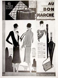 1928 Bon Marché Paris Fashion original vintage French advertisement. Sale on handbags, dresses and umbrellas, March 6, 1928. Size 11 by 15 inches. Price: $20.00 worldwide delivery included.