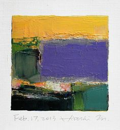 Feb. 17, 2013 - Original Abstract Oil Painting - 9x9 painting (9 x 9 cm - app. 4 x 4 inch) with 8 x 10 inch mat. $60.00, via Etsy.