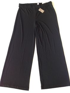 NWT! CHICOS Black Knit Palazzo Wide Leg Pull On Pants Size 2 New #Chicos #CasualPants
