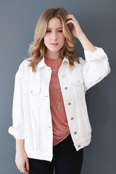 The Gigi white denim jacket will become your new everyday layering piece. The Gigi white d White Jacket Outfit, Jean Jacket Outfits, Black Jeans Outfit, Denim Outfit, Chic Outfits, Fashion Outfits, Denim Fashion, Denim Overalls, Ripped Denim
