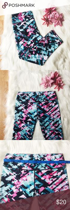 Pink, Blue, & Black Floral Modern Printed Leggings Pink, Blue, & Black Floral Modern Printed Leggings. The tag is cut out & for the life of me I can't figure out the brand. There is a photo of a brand logo, maybe you will recognize it? Anyway, these leggings are super cute. GREAT condition & very soft! Measurements are in the pictures!  Happy to answer any questions! Thanks for looking!   OFFERS are welcome!  Smoke free home. No trades. Pants Leggings