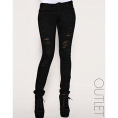 Arrogant Cat Studded Jeans (95 AUD) ❤ liked on Polyvore featuring jeans, black, arrogant cat and studded jeans