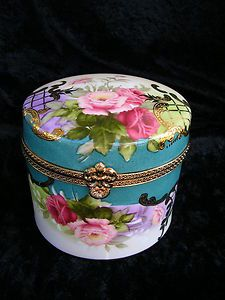 "LIMOGES ""THICK"" PORCELAIN ROUND LIDDED JAR,OR TRINKET BOX, 4 3/4"" TALL 5"" WIDE."
