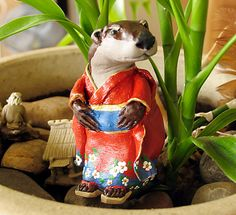 Kawauso  Japanese Yokai Otter Figurine  by bewilderandpine on Etsy, $95.00
