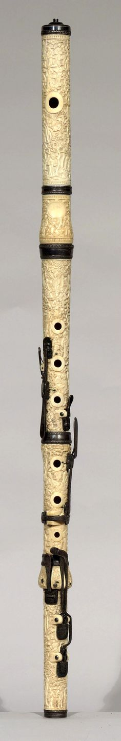 19th century carved ivory flute from England. Click on image for full view.
